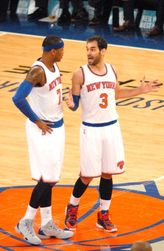 Carmelo Anthony and Jose Calderon getting to know each other on the court.