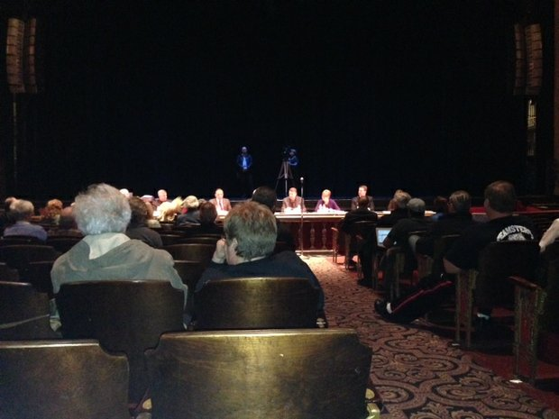 Members of the Will County Metropolitan Exposition and Auditorium Authority, which oversees Rialto Square Theatre operations, opened its meeting Wednesday to allow residents to speak about the new marquee proposed for the venue.