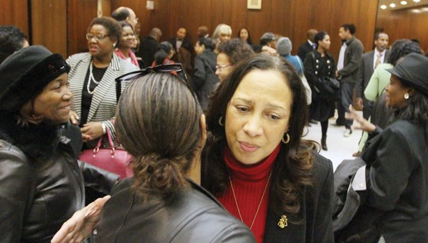 Judge Birdie Hairston Jamison gets hugs from well-wishers following her appearance before the judicial selection committees last Friday.