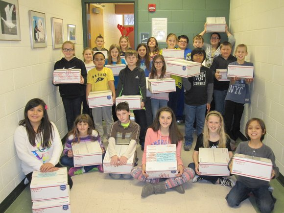 The Central Elementary School 5th-graders raised $440 to pay for the items that were mailed to the troops.