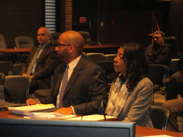 Joliet City Councilwoman Bettye Gavin and her lawyer, Eric Mitchell, participate in a Tuesday hearing of the Joliet Electoral Board in which Gavin denied allegations she did anything wrong in gathering her election nominating petitions.