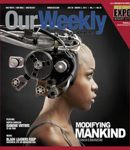 Inspiration for this cover came from a Cornell University study which stated that the Black gene is dominant. This photo is OW's interpretation of what humans of the future will look like. The headgear was made from an old pair of headphones, VHS tape spool, television parts, and printer ink cartridges. It was used by the Smithsonian Magazine as cover art and was designed by William Covington. Model is Star Brown.