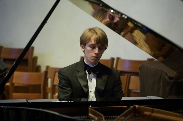 """Noah Alden Hardaway at the piano for the Music Doing Good with Scholarships concert, """"The Ones to Watch,"""" in April 2014 at Christ the King Lutheran Church (photo credit, Jay Ford)"""