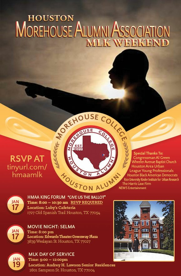 The Houston Moreshouse Alumni Association announces its planned activities for MLK weekend