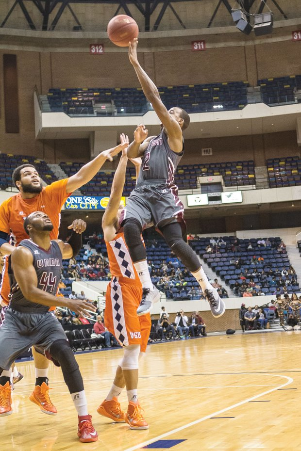Avery Jirmnson unleashes a shot for Virginia Union University, but he and the rest of the Panthers could not halt Virginia State University from trouncing them by 19 points in this annual contest and keeping them winless in CIAA conference play.