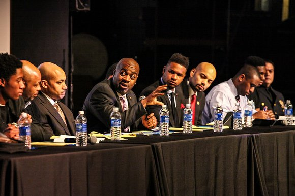 "Tuesday, Jan. 6, Mayor Ras J. Baraka and other dignitaries hosted Newark's first ""Young Men of Color and Law Enforcement"" ..."
