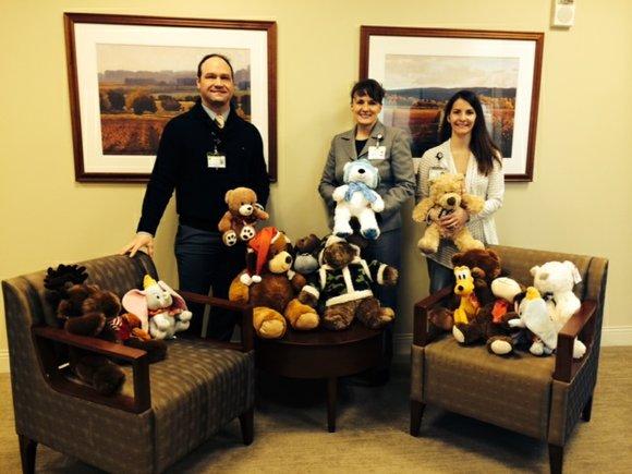 Employees also donated more than 100 teddy bears to be donated to the Will County Children's Advocacy Center.