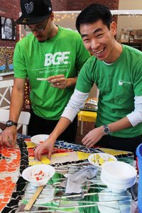 BGE employees volunteering on MLK Day 2015.