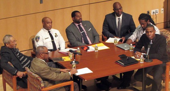 """The Reginald F. Lewis Museum presented """"A Community Roundtable Conversation: Healing Beyond Ferguson"""" at the MLK Day Commemoration on January 19, 2015. The discussion was hosted by Farajii Muhammad. The panel included (Left to right): Reverend Al Hathaway, Judge Robert M. Bell, Baltimore City Police Commissioner Anthony Batts, Baltimore City Councilman Nick Mosby, Dr. Lovell Smith, Chris Roberts and Farajii Muhammad."""