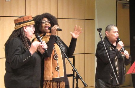 The Freedom Riders musical performance was performed by In Process, an African-American women's acappella ensemble. They performed songs that the Freedom Riders sang during the Civil Rights Movement.