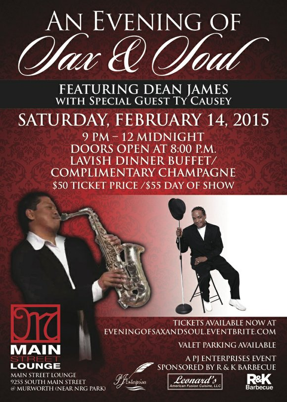 """An Evening of Sax and Soul"" featuring renowned saxophonist Dean James with special guest R&B vocalist Ty Causey will be ..."