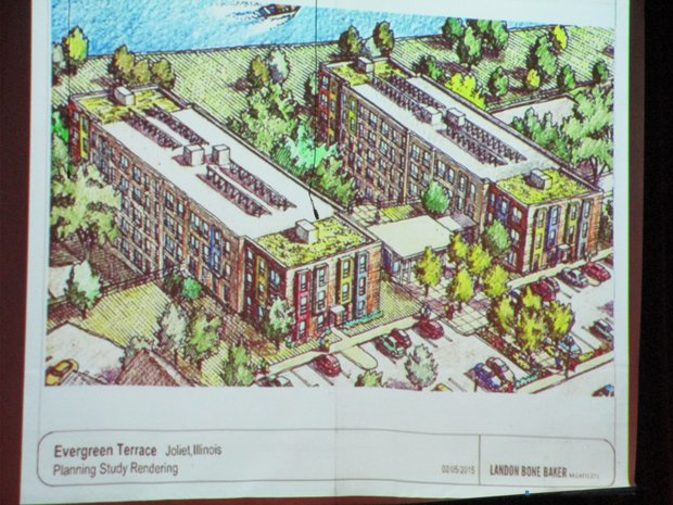 Architects from Landon Bone Baker presented this rendering of what a renovated Evergreen Terrace might look like in the future.
