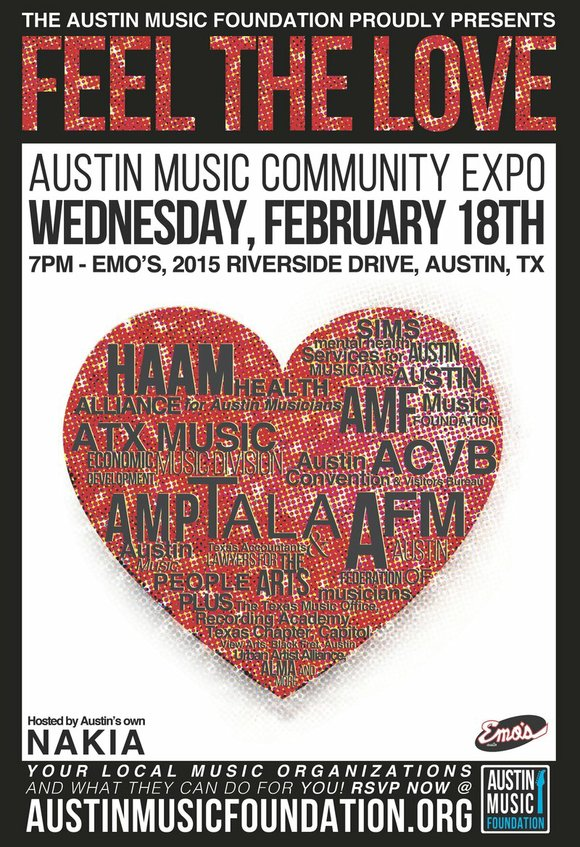 """The Austin Music Foundation is proud to host """"Feel the Love"""" - the first annual music community expo for professionals ..."""