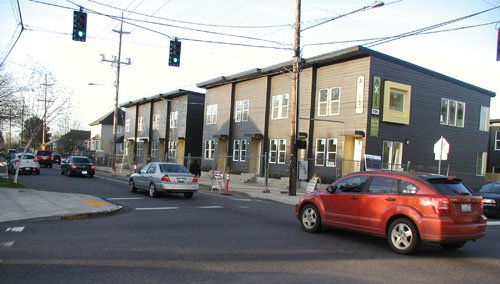 Market rate housing replaces vacant land once owned by the North Portland Bible College at North Vancouver and Alberta Street.