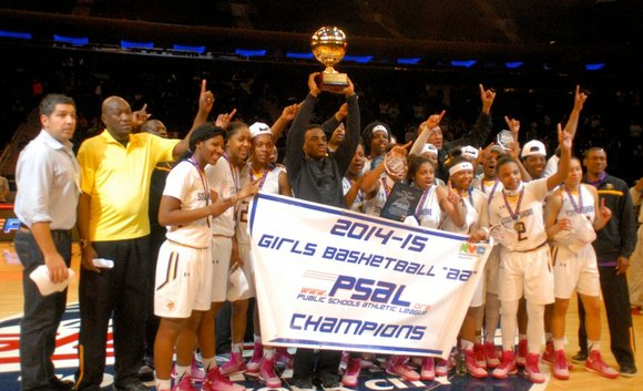 The South Shore girls varsity basketball team from the Flatlands of Brooklyn won this season's PSAL high school championship on ...