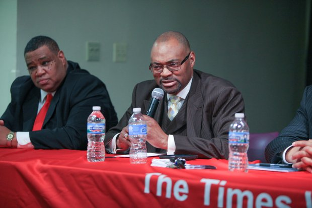 District 5 candidates (from left) Leonard Thompson Jr. and Councilman Terry Morris.
