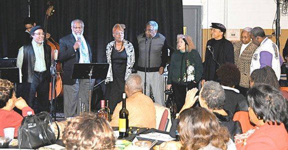 Left Bank Jazz Society Members on stage at the end of their jazz event