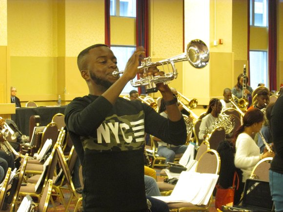 The Florida A&M University (FAMU) Wind Symphony makes final preparations for its Carnegie Hall performance.