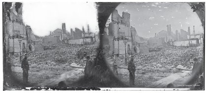 A swath of rubble and destruction through Richmond's central district is visible in this stereograph by Alexander Gardner originally published in April 1865.