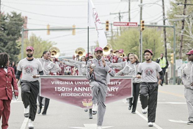Virginia Union University joyously celebrated its 150th anniversary last Friday with citywide ceremonies at historic sites related to the university's founding. 