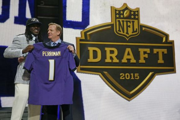 Receiver Breshad Perriman from Central Florida with the 26th pick in the 2015 NFL Draft. Perriman was the fifth receiver ...