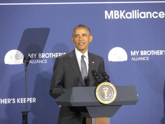 President Barack Obama delivered remarks at an event launching the My Brother's Keeper Alliance at Lehman College in the Bronx ...