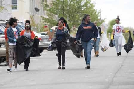 Students from Morgan State University, local teachers, individuals who were out of school because of the closings and members of ...