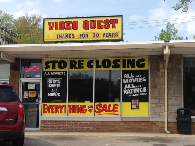Video Quest, a fixture on Jefferson Street for 30 years and the last independently owned video store in Joliet, is going out of business.