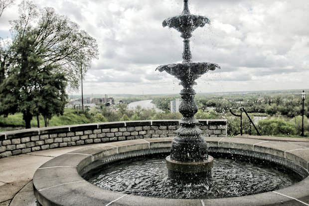 Cityscape Slices of life and scenes in Richmond With storm clouds forming, water trickles down from the ornamental fountain in Libby Hill Park into the pool below. Location: 28th and Franklin streets in Church Hill. Libby Hill is one of three original parks in Richmond's park system. It originally was called Marshall Square. The city was named in the early 1700s by William Byrd II after the English town of Richmond near London. The reason: The view of the James River from Libby Hill was strikingly similar to the view of the River Thames from Richmond Hill in England, where Mr. Byrd spent part of his youth.