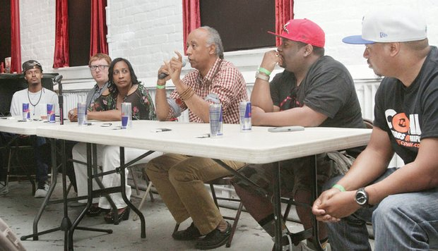 Filmmakers, scholars and music videographers participate in a panel on the history and future of hip-hop through film. They are, from left, visual artist Monsee; Kevin Kosanovich of The College of William & Mary Hip Hop Collection; Zulu Queen Lisa Lee; Emmy Award winner Jesse Vaughan; Virginia State University instructor and visual artist Rob Roby; and Curators of Hip Hop co-founder Jimmie Thomas.