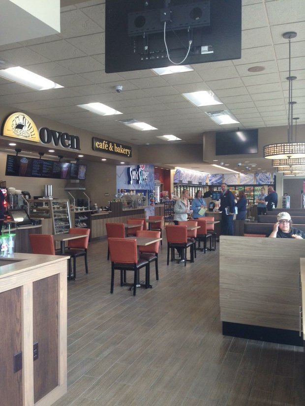 The remodeled interior of the Delta Sonic gas station includes the Brick Oven Cafe & Bakery and a soon-to-open U.S. Post Office substation.