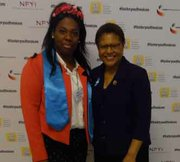 Mary Josephine Fuwa (left) and Representative Karen Bass (D-Calif.) during the 2015 Foster Youth Shadow Experience Luncheon. Fuwa aged out of the foster care system in Maryland in November. She currently attends Trinity University in Washington, D.C.