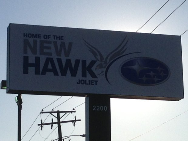 Owner John Crane, apparently anticipating Joliet City Council approval of a special use permit for his Subaru dealership, has erected a sign advertising Hawk Subaru at 2200 W. Jefferson St.