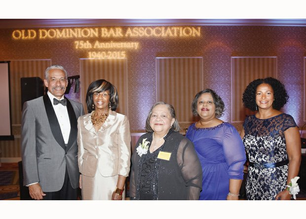 Enjoying the Old Dominion Bar Association's 75th anniversary gala banquet Saturday night are, from left, Richmond attorney Robert J. Grey Jr., former president of the American Bar Association; ABA President-elect Paulette Brown, banquet speaker; ODBA conference chairwoman Beverly Burton; ODBA President Helivi L. Holland; and Vinceretta Chiles, ODBA immediate past president.