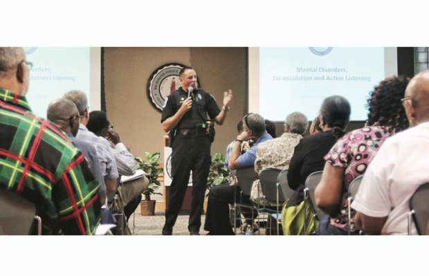 Richmond Police Officer Dean Waite talks about security to faith leaders Saturday at the Places of Worship Safety & Awareness Forum. About 200 people attended. Location: Richmond Police Academy next to the campus of Virginia Union University.