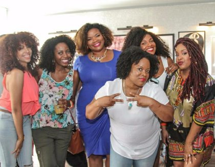 From L to R: Host LipsticknCurls & Blogger Friends VeePeeJay, HoneyBeNatural, Julian Addo, Team Natural and EtcBlogMag
