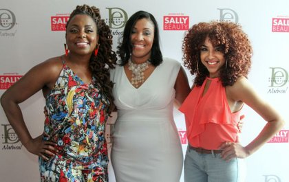 From L to R: Ledisi, Taydra Mitchell-Jackson, VP of Marketing for Design Essentials® and host LipsticknCurls
