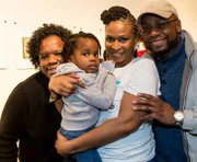 Catherine Trotter family supporters: (Left to right):Yolanda Trotter, sister-in-law; Catherine Trotter, founder, New Beginnings Youth Development & Coaching Program (center); Mia Trotte, toddler ( center); and Catherine's brother Andrew Trotter.