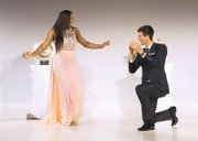 """Wimbledon singles champions Serena Williams and Novak Djokovic of Serbia dance to music from """"Saturday Night Fever"""" at the Wimbledon Champions' dinner Sunday night at Guildhall in London."""