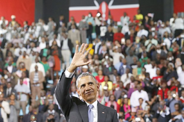 OBAMA IN AFRICA- President Obama waves to a cheering crowd that packed an indoor stadium Sunday in Nairobi, Kenya, for the president's visit. Kenya, the homeland of President Obama's father, was the first stop on the president's six-day journey through Africa, where he met with African heads of state and, on Monday, addressed the African Union in Addis Ababa, Ethiopia. In addition to seeking to further trade and cooperative arrangements between the United States and the African continent, the president addressed issues of human rights, women's rights, ethnic conflict, corruption, terrorism, democracy, economic growth and presidential term limits. While in Kenya, he met with his extended family members. He is the first sitting U.S. president to visit Kenya or Ethiopia.