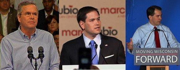 A trio of Republican establishment favorites -- Jeb Bush, Scott Walker and Marco Rubio -- are all losing ground in ...