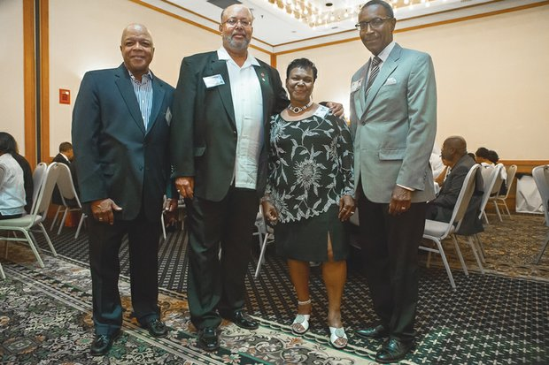 """Friendships were renewed and new acquaintances were made last weekend at the 50th reunion of the Armstrong High School Class of 1965 at a Sandston hotel. Attendees celebrated the stellar careers and notable contributions of class members. Among those enjoying the camaraderie are, above, from left: David L. Temple Jr., deputy secretary of education under former Gov. Gerald Baliles; Thomas """"TC"""" Cannon Jr., a mentor with the Richmond nonprofit Concerned Black Men of Richmond; class president Joyce Bailey DeBerry, a financial services business owner; and Judge Charles N. Clevert Jr., a senior judge of the U.S. District Court for the Eastern District of Wisconsin. Middle: Sharing a laugh are Dr. Ruby Morton Gourdine, a professor of social work at Howard University, and Floyd T. Johnson, who was the first African-American county administrator of Broward County, Fla., and the first African-American city manager of Fort Lauderdale, Fla. Right: Also attending are, from left, Miss Armstrong 1965 Sharletta Branch Richardson, who worked more than 30 years in secondary education; the Rev. Patricia Gould-Champ, pastor at Faith Community Baptist Church in the East End; and class valedictorian Dennis Stevens, an economist with the U.S. Postal Service."""