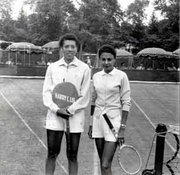"Althea Gibson (left) and Millicent Miller (right) at the Merion Cricket Club, ca. 1958, after Gibson defeated Miller in the first round of the Pennsylvania Lawn Tennis Championships. Miller is the mother of ""American Masters: Althea"" director Rex Miller. This photo inspired Rex Miller to make the documentary."