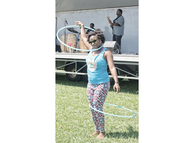 Santia Nance of RVA HoOp LOvers shows off her hula hoop skills at the event.