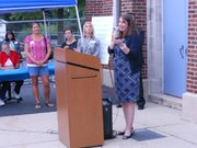 State Representative Emily McAsey addresses the crowd at the Taft School District 90 re-dedication ceremony on Friday.