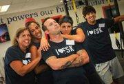 (Front left to right) Teacher Wellness Champions Bethany Davis, Lauren Diresta, Jill Thomas, Matt Mutolo, Brad Rutherford