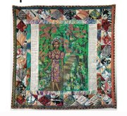 """""""Maya's Quilt of Life"""" by artist Faith Ringgold is expected to bring up to $250,000. Oprah Winfrey commissioned the 1989 piece, an acrylic on canvas with pieced fabric border, for Maya Angelou's 69th birthday."""