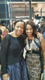Designer Tracy Reese and Vaughn Backstage