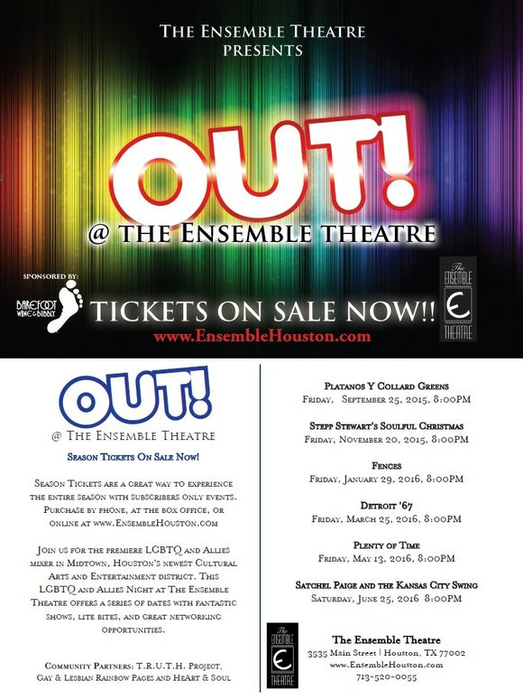 The Ensemble Theatre kicks off its 2015-2016 OUT At The Ensemble calendar with its first mixer for the contemporary romantic ...