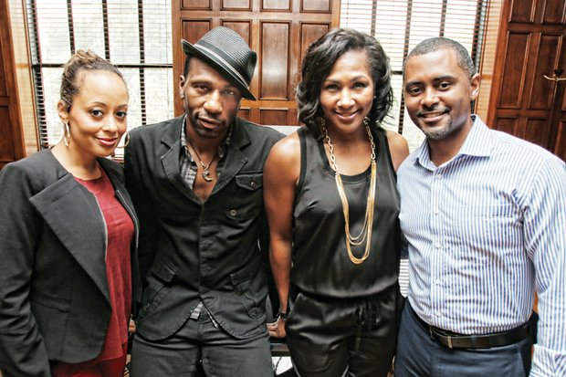 Cast members, from left, Essence Atkins, Leon and Terri J. Vaughn and playwright Je'Caryous Johnson visit the Free Press offices Monday in Downtown.